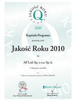 Firma AP Ltd. została laureatem nagrody Jakość Roku 2010 oraz nagrody Jakość Roku Srebro w kategorii Produkt za luksusowe preparaty botaniczne ANNA PIKURA.