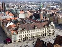 Widok z lotu ptaka na Rynek we Wrocławiu